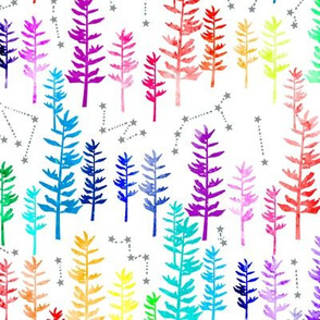 Starry Rainbow Forest - white background