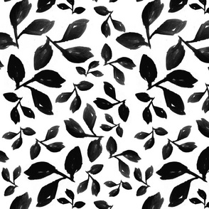 Leaves Black on White