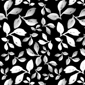 Leaves White on Black