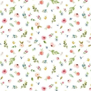 TINY Woodland Flowers - Pink Peach Blush Blue Floral