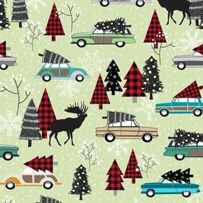Christmas Tradition - Vintage Cars + Christmas Trees - soft green