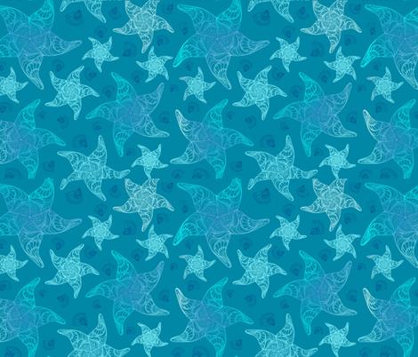 Aqua Blue Starfish Pattern fabric by gypsea_art_designs on Spoonflower - custom fabric
