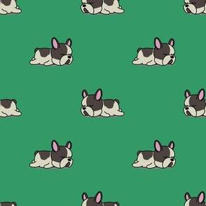 Boston Terrier Pattern Green Background