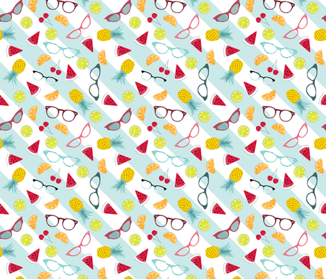 1950s glasses and tropical punch fabric by michaelakobyakov on Spoonflower - custom fabric