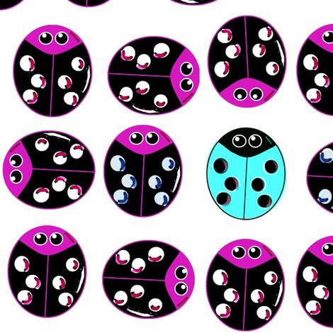 Ladybug Odd Ball - Purple & Aqua   fabric by franbail on Spoonflower - custom fabric