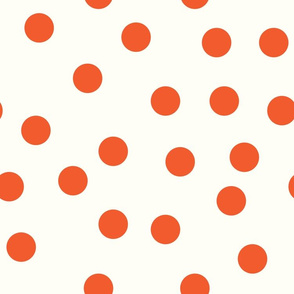 "1.5"" polka dot scatter - muted red on cream"