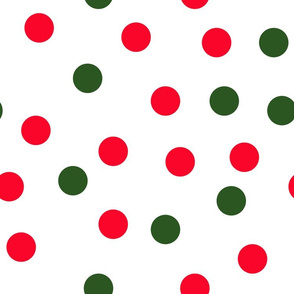 "1.5"" polka dot scatter - green and red"