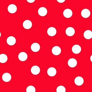 "1.5"" polka dot scatter - white on red"
