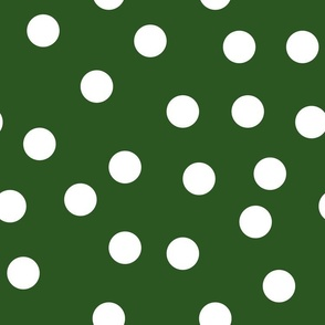 "1.5"" polka dot scatter - white on green"