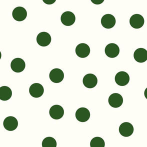 "1.5"" polka dot scatter - green on cream"