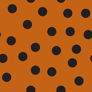 "1.5"" polka dot scatter - black and autumn orange"