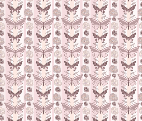 blush pink butterfly garden  fabric by inotra on Spoonflower - custom fabric