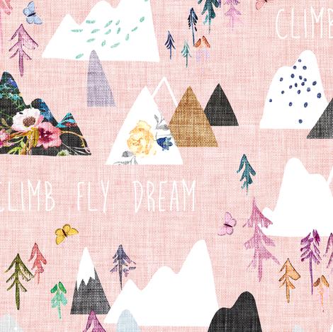 Mountain Dreams (rose)  fabric by nouveau_bohemian on Spoonflower - custom fabric