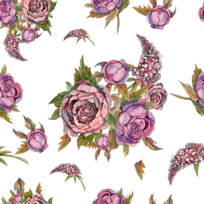Floral seamless pattern. Watercolor flowers. Roses, peonies, lilacs. Ancient bouquets of flowers.