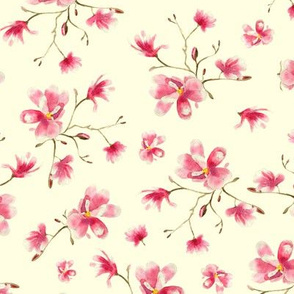 magnolia on cream || floral watercolor pattern