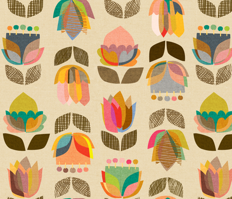 Mid-Century Flowers {Kaleidoscope} - large scale fabric by ceciliamok on Spoonflower - custom fabric