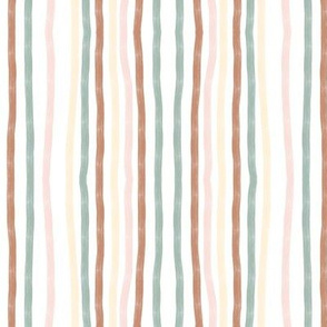 hand drawn vertical stripes - terracotta, aqua, pastel yellow and pink