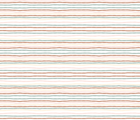 hand drawn stripes - terracotta, aqua,  pastel yellow and pink fabric by sunny_afternoon on Spoonflower - custom fabric