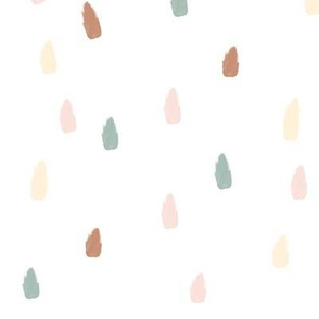 raindrops dashes strokes (big) - terracotta, aqua, pastel yellow and pink