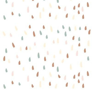 raindrops strokes dashes (small)- terracota, aqua, pastel yellow and pink