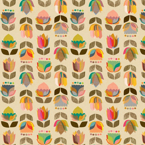 Mid Century Flowers {Kaleidoscope} - medium scale