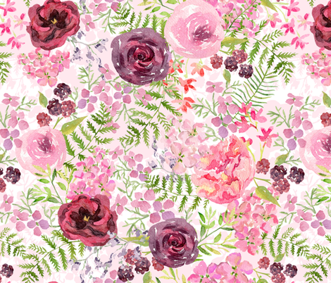 Romantic Roses and Forest  fabric by utart on Spoonflower - custom fabric