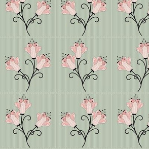 Grace: 1920s Geometric Scattered Floral, Lilies