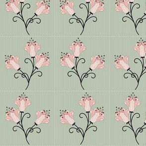 Grace: 1920s Geometric Floral, Rose Gold Lilies