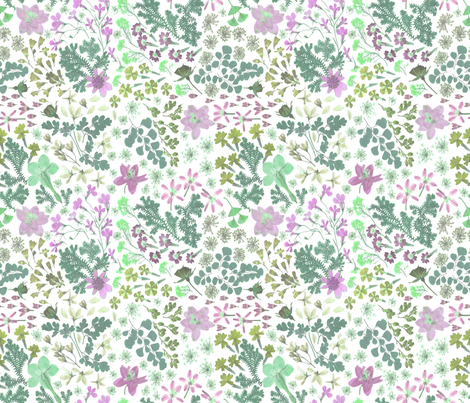 wildflower mint lilac fabric by mypetalpress on Spoonflower - custom fabric