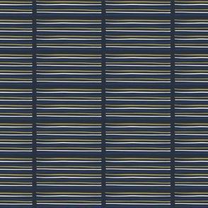 Geometric Doodle Stripes Navy Blue Gold