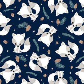 Baby Fox - Winter Pinecones & Branches on Navy - Woodland Animals Kids Childrens Design