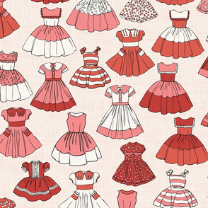 1950s Girls Dresses - Red, H White Linen