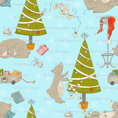 Christmas and bears in forest - Large