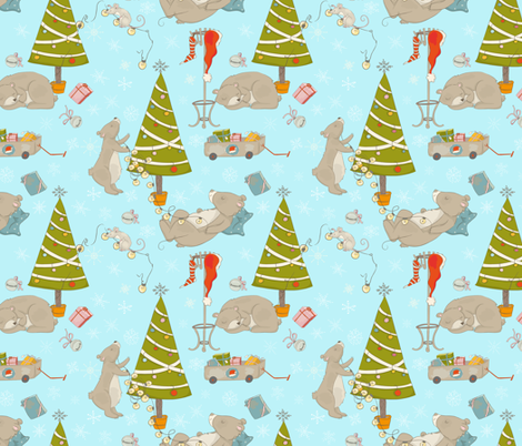 Christmas and bears in forest - Large fabric by utart on Spoonflower - custom fabric