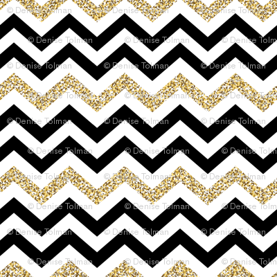 Chevron Sparkle Gold Black on White