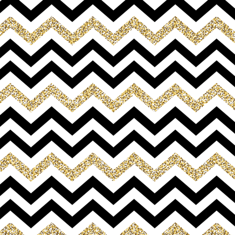 Chevron Sparkle Gold Black on White fabric by fabric_is_my_name on Spoonflower - custom fabric