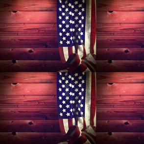 USA Flag Red Barn