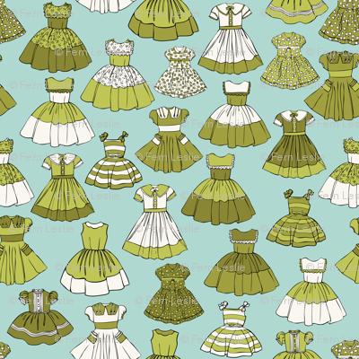 1950s Girls Dresses - Green, Aqua, H White