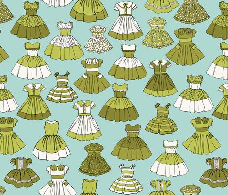 1950s Girls Dresses - Green, Aqua, H White fabric by fernlesliestudio on Spoonflower - custom fabric