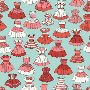 1950s Girls Dresses - Red, Aqua, H White