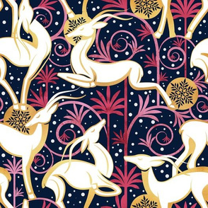 Deco Gazelles Garden Christmas Version // navy background white animals and gold textured decorative elements