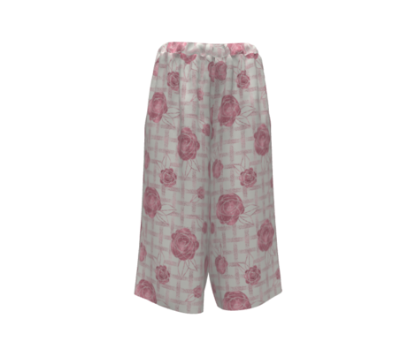 Pink Roses on Dots Basket Weave