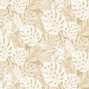 Tropical Shadows - White on Beige - Micro Print