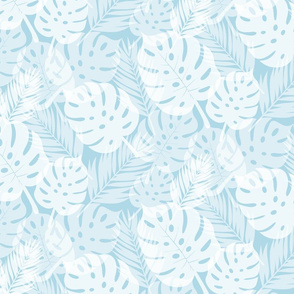 Tropical Shadows - White on Blue - Micro Print