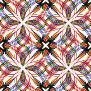Spirograph Floral Bright Rose Tile