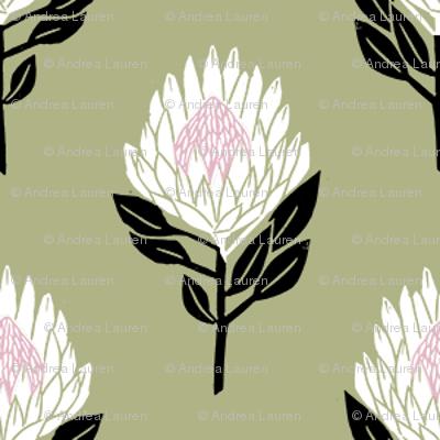 protea floral  // linocut flower, floral, stem, bloom, linocuts, folk, decor - olive
