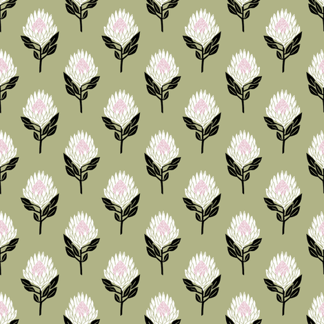 protea floral  // linocut flower, floral, stem, bloom, linocuts, folk, decor - olive fabric by andrea_lauren on Spoonflower - custom fabric