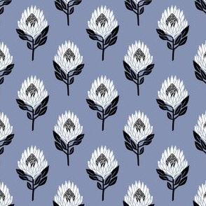 protea floral  // linocut flower, floral, stem, bloom, linocuts, folk, decor - blue
