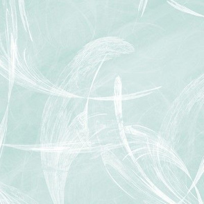 light teal feathery brushstrokes abstract