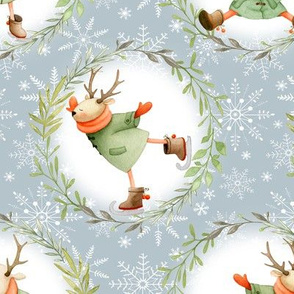 Winter Deer & Wreath - holiday fabric - LARGE SIZE